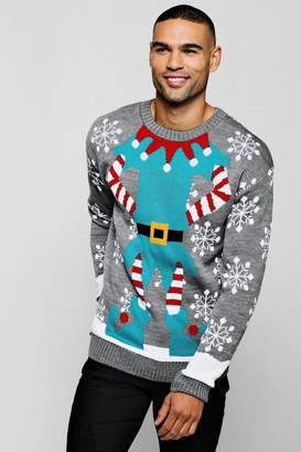boohoo Elf Christmas Jumper