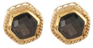 Anna Beck 18K Gold Plated Grey Sapphire Hexagon Stud Earrings