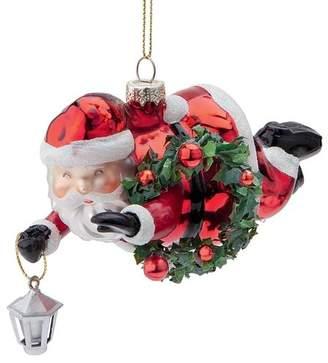 Toscano Design Super Santa Flying Blown Glass Holiday Hanging Figurine