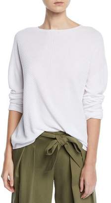 Eileen Fisher Mitered Stitch Long-Sleeve Crewneck Sweater