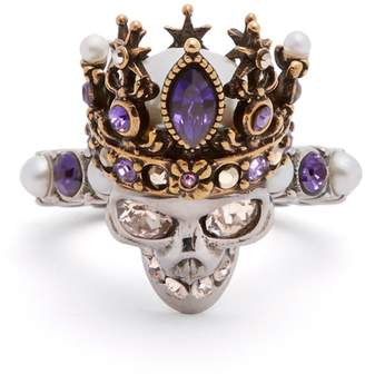 Alexander McQueen Queen crystal and pearl-embellished skull ring