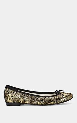 Repetto Women's Cendrillon Snakeskin-Stamped Suede Ballet Flats - Gold
