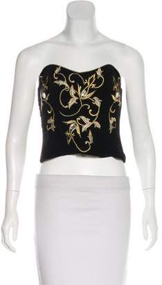 Natori Strapless Embroidered Top