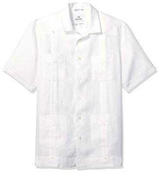 0e3077588c 28 Palms Relaxed-fit Short-Sleeve 100% Linen Pleated Guayabera Shirt Button,