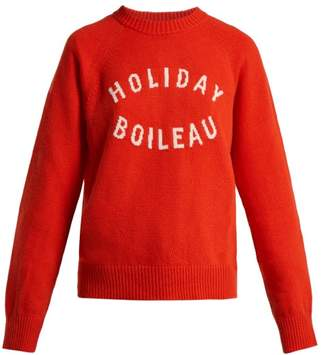 Holiday Boileau Logo Intarsia Virgin Wool Sweater - Womens - Red