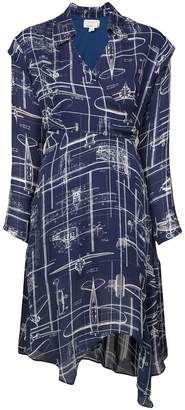 Nicole Miller blueprint wrap dress