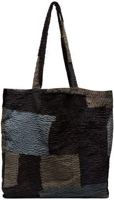 By Walid Blue patch top handle tote bag