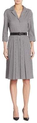 Akris Belted Check-Print Cotton Shirtdress