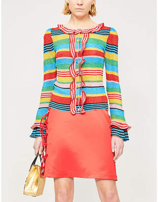 Moschino Frill striped knitted cardigan