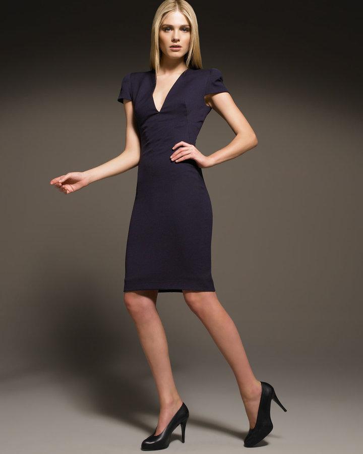 Alexander McQueen Cap-Sleeve Sheath Dress