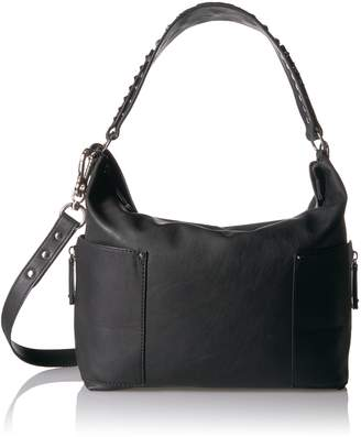 Steve Madden Women's Linda Shoulder Hobo Style Handbag, Black/Mixed Hardware