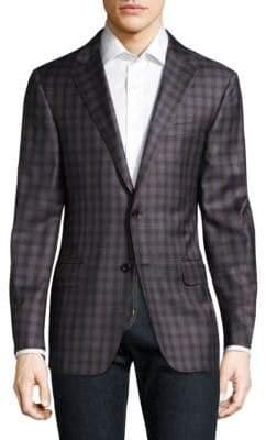 Hickey Freeman Checkered Wool Blazer