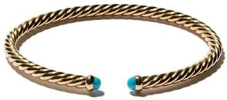 David Yurman 18kt yellow gold Cable Spira turquoise cuff bracelet
