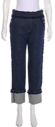 See by Chloe Fringe-Trimmed Mid-Rise Jeans