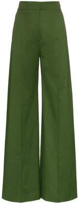 Vika Gazinskaya pleat front cotton flared trousers