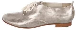 Marc Jacobs Metallic Leather Oxfords Silver Metallic Leather Oxfords