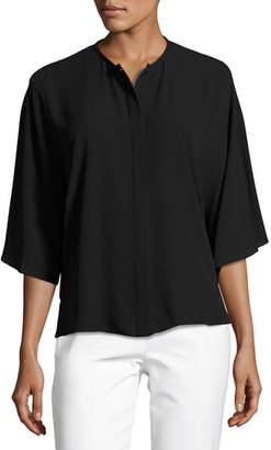 Michael Kors Short-Sleeve Silk Georgette Top