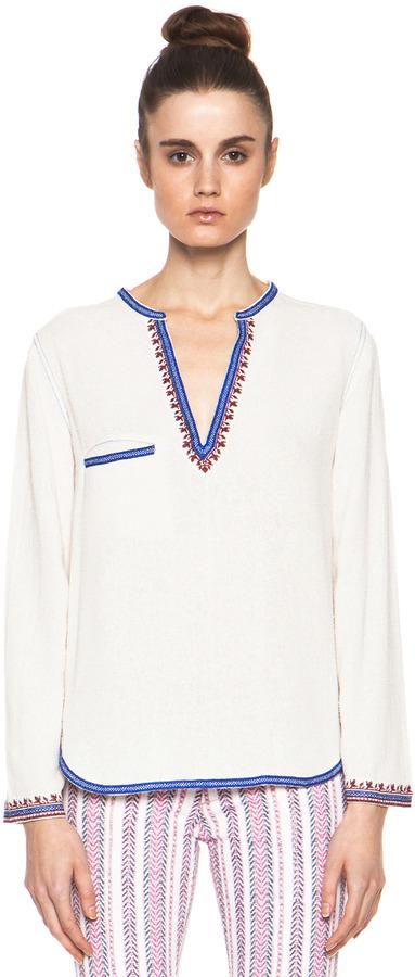 Etoile Isabel Marant Demie Embroidered Noil Silk Top in Ecru & Bleu