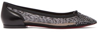 Christian Louboutin Patio Crystal Embellished Mesh Flats - Womens - Black