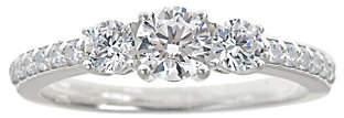 Affinity Diamond Jewelry 3-Stone Diamond Ring w/ Pave Accents, 1.00 cttw