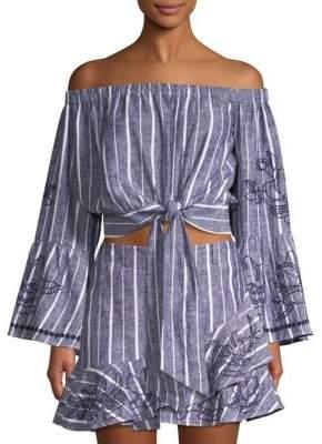Parker Georgina Stripe Off-The-Shoulder Bell-Sleeve Crop Top