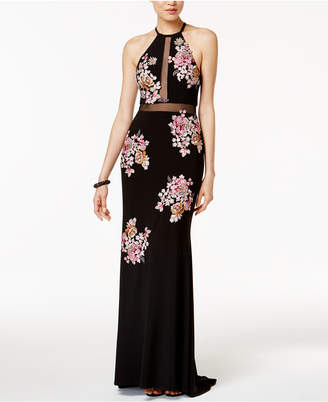 Xscape Evenings Embroidered Open-Back Illusion Halter Gown