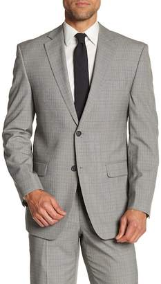 Perry Ellis Plaid Modern Fit Notch Collar Jacket