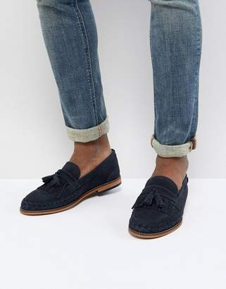 H By Hudson Alloa woven loafers in navy suede