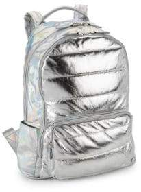 Bari Lynn Metallic Puffy School Backpack