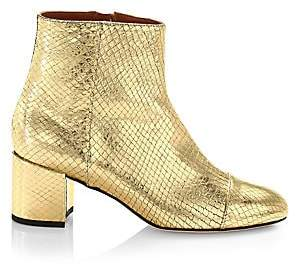 Paris Texas Women's Atlanta Metallic Snakeskin-Embossed Leather Ankle Boots