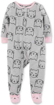Carter's Baby Girls Cat-Print Footed Pajamas
