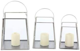 Brimfield & May Modern Trapezoidal Iron Candle Holders With Handle, 3-Piece Set