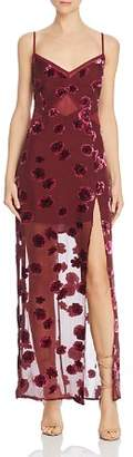 For Love & Lemons Sophie Floral Burnout Velvet Dress