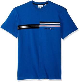 Lacoste Men's Short Sleeve Mouline Jersey Tee with Stripe Word