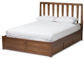 Baxton Studio Raurey Modern and Contemporary Walnut Finished Storage Platform Bed, Multiple Sizes