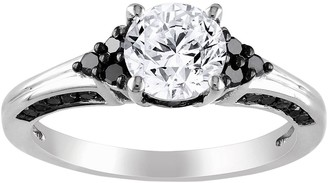 Black Diamond Stella Grace Lab-Created White Sapphire and Cluster Engagement Ring in Sterling Silver (3/8 ct. T.W.)