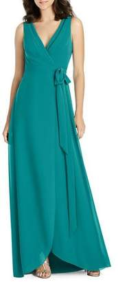 Jenny Packham V-Neck Sleeveless Matte Chiffon Wrap Bridesmaid Gown