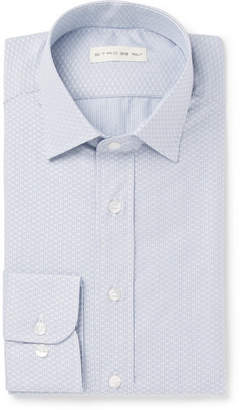 Etro Blue Slim-Fit Cotton-Jacquard Shirt - Blue