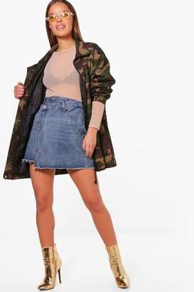 boohoo Petite Double Waistband Denim Skirt