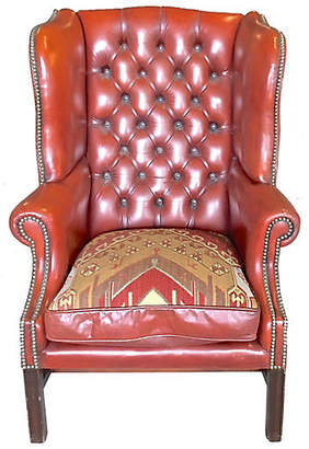 One Kings Lane Vintage Red Leather Wingback Chair - Vermilion Designs