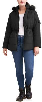Weathertamer WEATHER TAMER Weather Tamer Women'S Plus-Size Quilted Puffer Jacket W/ Faux Fur-Trim Hood