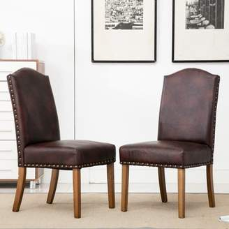 Roundhill Furniture Roundhill Mod Urban Style Wood Nailhead Faux Leather Padded Parson Chair, Set of 2, Brown
