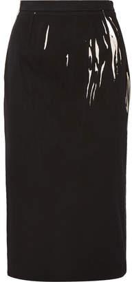 Prada Printed Denim Midi Skirt - Black