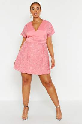boohoo Plus Lace Panel Woven Skater Dress