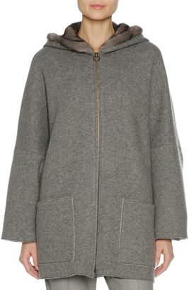 Agnona Zip-Front Mink Fur-Lined Hoodie, Multi