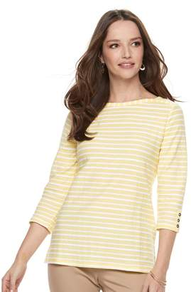 Croft & Barrow Women's Striped Button Sleeve Tee