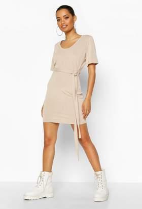 boohoo Brushed Plunge Short Sleeve Mini Dress