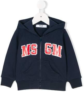 MSGM zipped logo hoodie