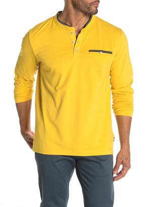 Kenneth Cole Long Sleeve Solid Pocket Henley