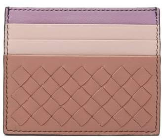 Bottega Veneta Intrecciato Leather Cardholder - Womens - Pink Multi